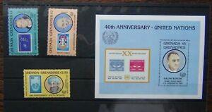 Grenada-GRENADINES-1985-anniversario-delle-Nazioni-Unite-Set-amp-in-miniatura-foglio-Gomma-integra
