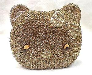 Multi-color LION Luxury Handmade Austian CRYSTAL Evening Bag Clutch Handbag