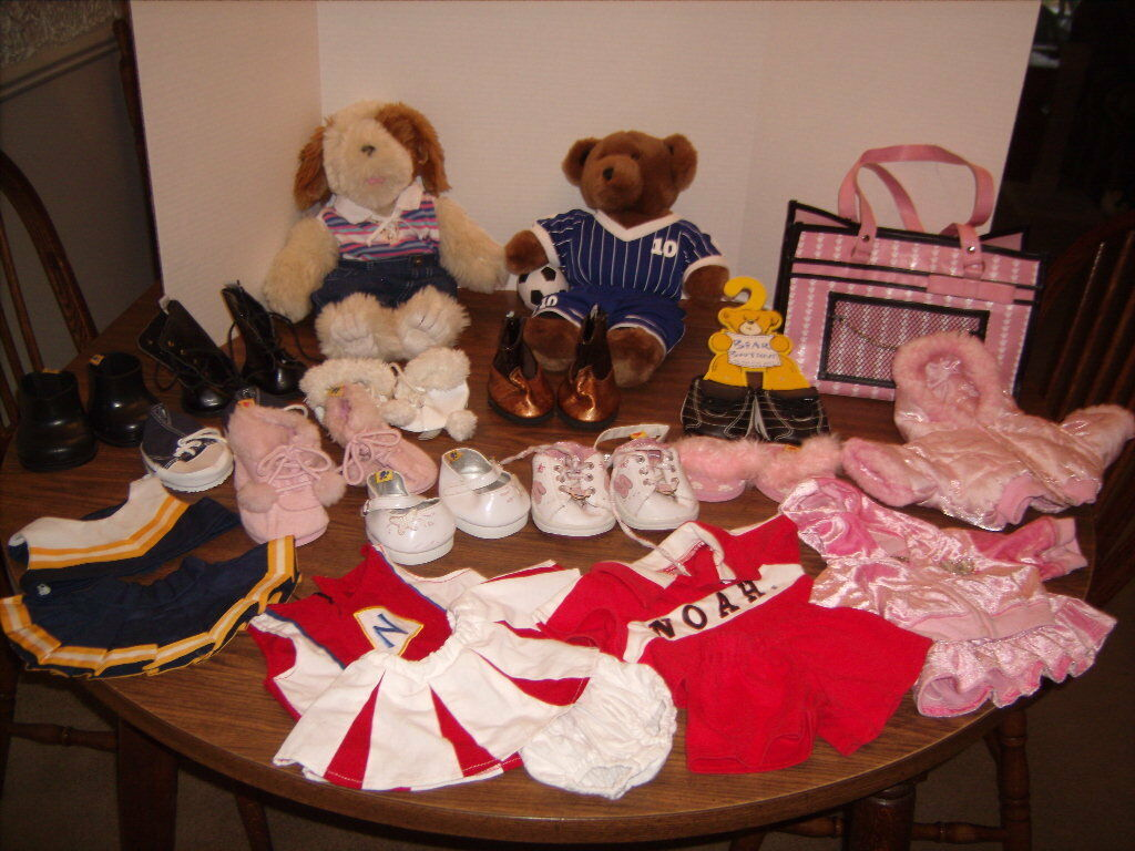 Babw Build  A Bear LOT Plush Bear & Dog with Clothes and scarpe Lot Soccer