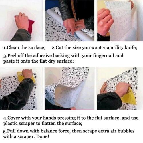 Vinyl Gloss Self Adhesive Wallpaper Wall Stickers Kitchen Cabinet Waterproof