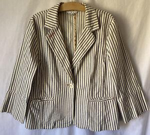 Cabi 1 Button Blazer Stripe Jacket 14 XL Style #793 Cotton Stretch Womens MINT