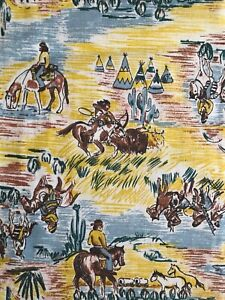 Vintage-Western-boys-home-decor-fabric-cotton-horses-Americana-c-1940s-50