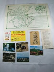 Vintage-Ephemera-Lot-Hotel-Perth-Placemat-Mazola-Coupon-Photos-Poem-Etching