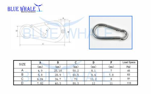 "Carabiner Snap Hook C: 2-3//4"" USA BL31520794 316 S.S"