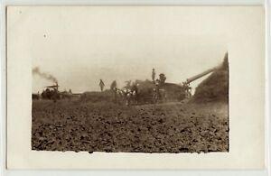 Steam-engine-threshing-machine-farm-bailing-hay-real-photo-postcard-RPPC-4