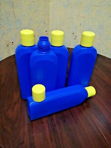5x1L-ovale-HDPE-Liquidflaschen-Kunstoff-Blau-Leer-Liquid-Flasche-Allzweck-PE