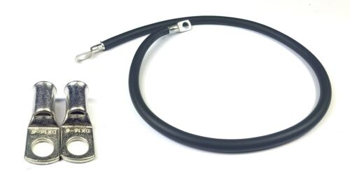 """24/"""" 600mm Car Battery Black Earth Earthing Negative Lead Cable Wire Strap M6 Lug"""