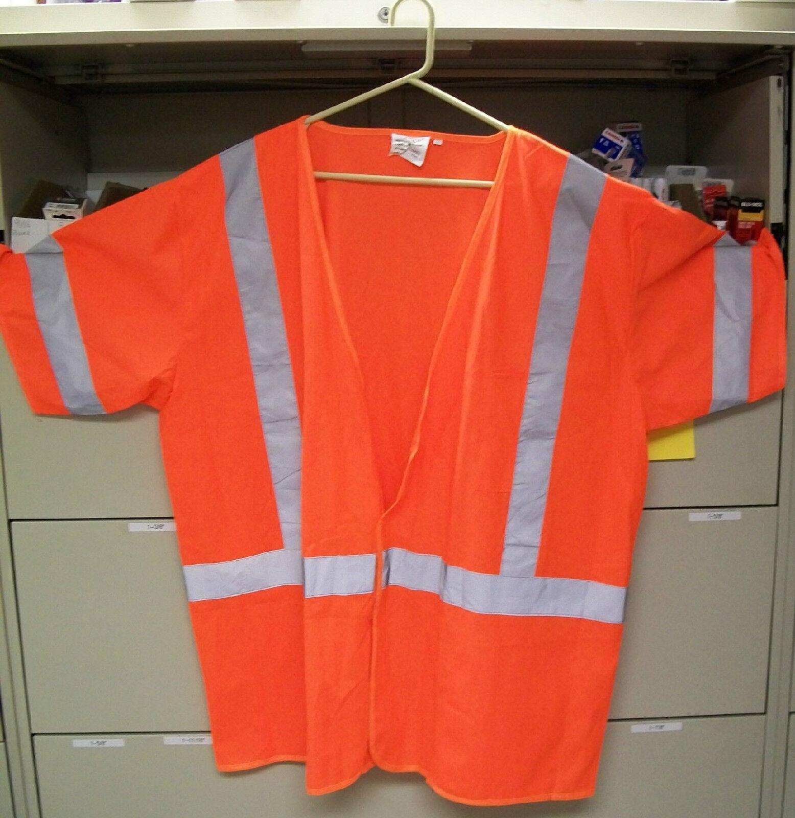 Safety Vest ANSI Class 3 Flourescent orange 1291-O Lot of 5 Vests