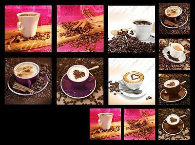 GLASBILDER DEKO WAND BILD DECO GLASS FLOAT GLAS KAFFEE BOHNE CAFE KÜCHE BAR