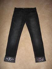 NWT $42 Girls DKNY Rocker Dark Wash Gem Cuff Skinny Jeans - size 14