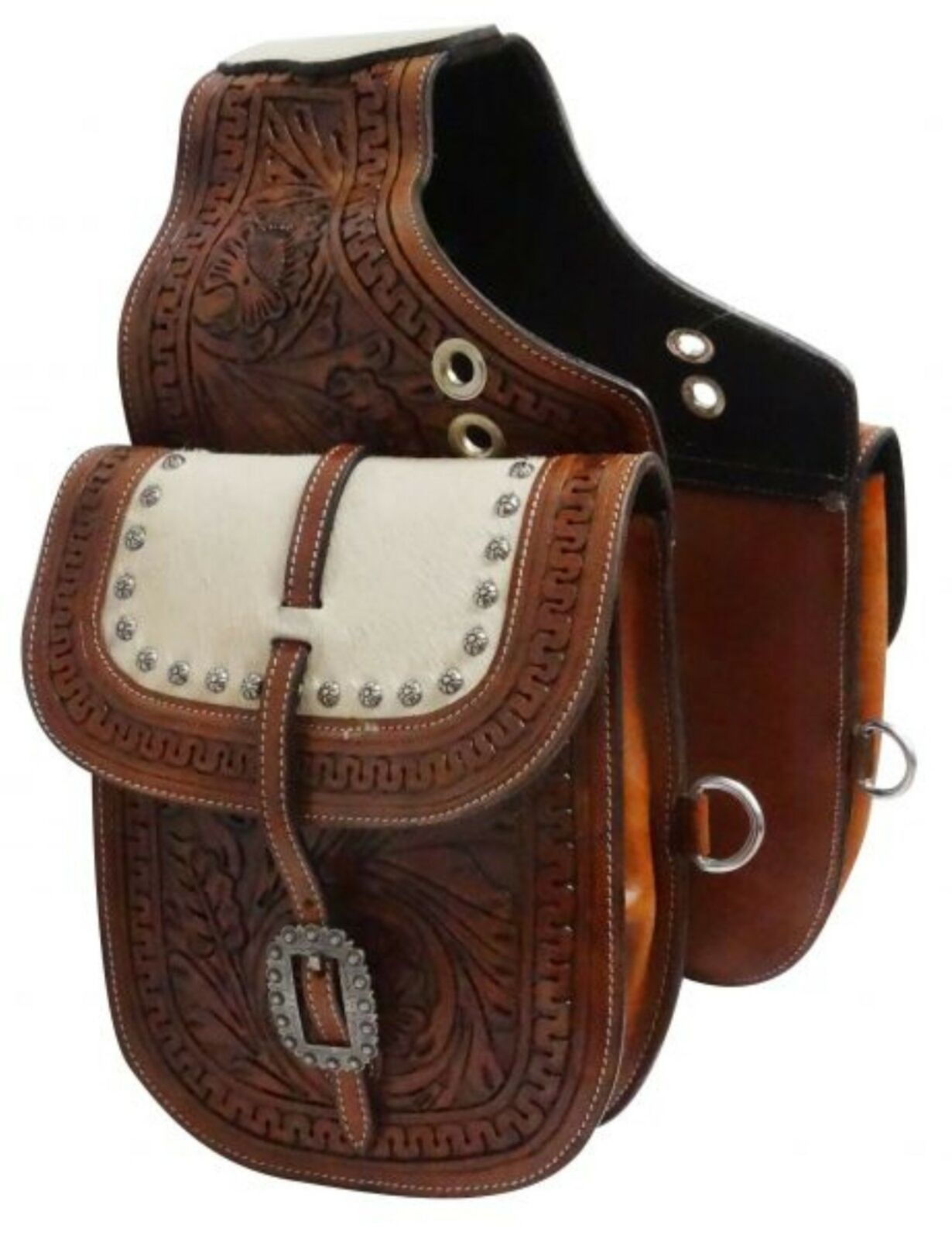 Showman MEDIUM OIL Leather Western Saddle Bag with Hair On Cowhide Overlay