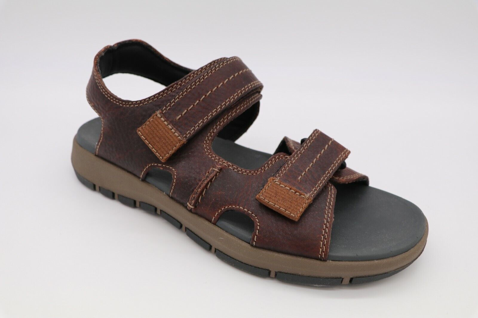 Men/'s Clarks Sandals Brixby Cove Dark Brown  Leather  26131521