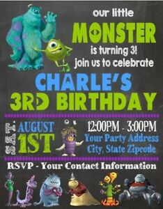 Monsters Inc Birthday Party Invitations Invites Personalized Custom