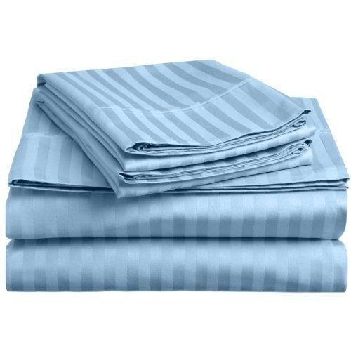 Light bluee Stripe Duvet Cover Set King Size 1000 TC 100% Egyptian Cotton