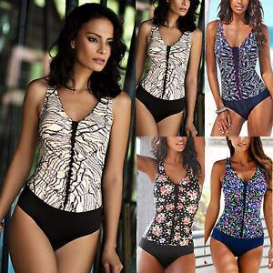 998ee788683b9 Women Fashion Floral V Neck Monokini One Piece Swimsuit Beachwear ...