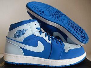 NIKE AIR JORDAN 1 MID TEAM ROYAL BLUE-ICE BLUE-WHITE SZ 15  554724 ... 051ac5896