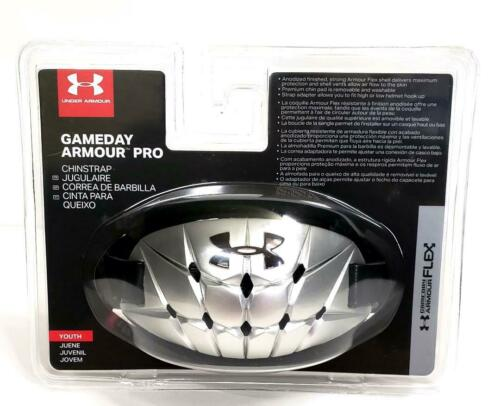 Under Armour  GAMEDAY ARMOUR PRO Chin Strap  UA Flex Youth Boys SILVER  MSRP $25