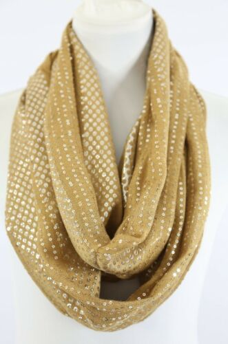 B61 Sequin Metallic Foil Polka Dot Silver Mustard Ivory Infinity Scarf Boutique