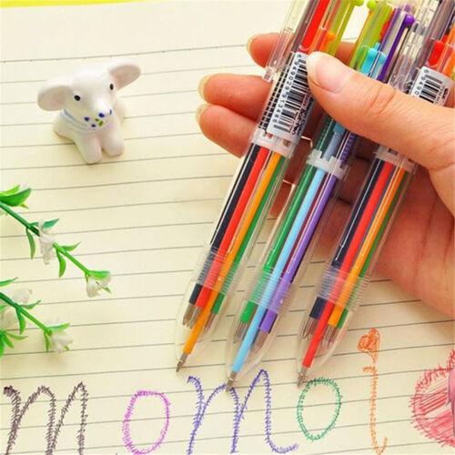 1 Neue Schreibwaren Multi-Color Kugelschreiber 6 Farben Kugelschreiber Study YR
