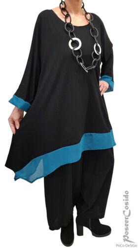 LAGENLOOK Tunika Long-Shirt Chiffon schwarz L-XL-XXL-XXXL 44 46 48 52 54 56 58