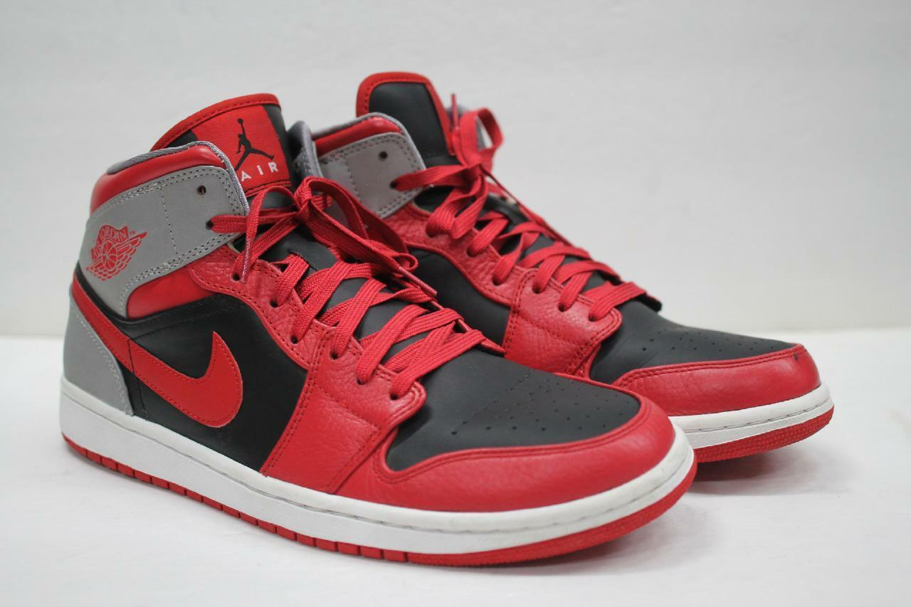 NIKE Air Jordan Retro 1 Mid Basketball Shoes SZ 11 Fire Red Blk Grey 554724 603