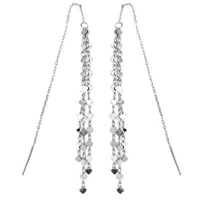 Solid 925 Sterling Silver Cascading Heart Long Pull Through Threader Earrings