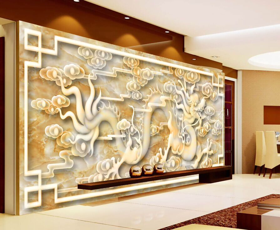 3D Jade Playful Dragon 1 Paper Wall Print Decal Wall Wall Murals AJ WALLPAPER GB