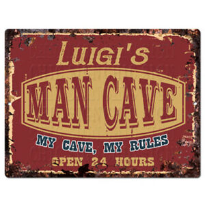 PPWM1193-LUIGI-039-S-MAN-CAVE-RULES-Chic-Sign-man-cave-Decor-Funny-Gift
