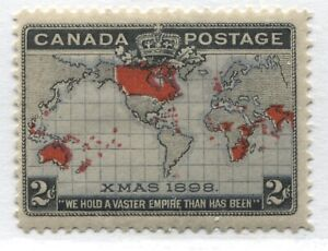 Canada QV 1898 2 cents Christmas lavender Map stamp mint o.g. hinged