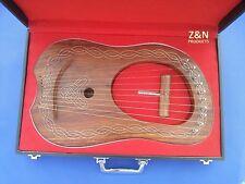 Lyra Rose Wood 10 Metal Strings / Celtic Lyra Harp with Hard Carrying Case