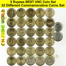 Very Rare 32 Different Types of 5 Rupees Commemorative Five Rupees UNC Coin Set