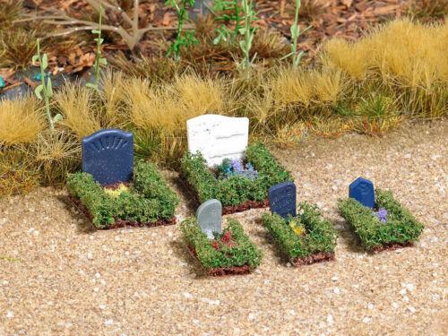 Busch 7686 mini mundo tumbas 5 lápidas con accesorios cementerio h0 nuevo