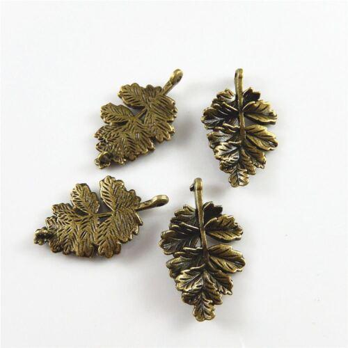 20 Stück Antiqued Bronze Schön Blatt Charms Dangles Anhänger 28x19mm 02377
