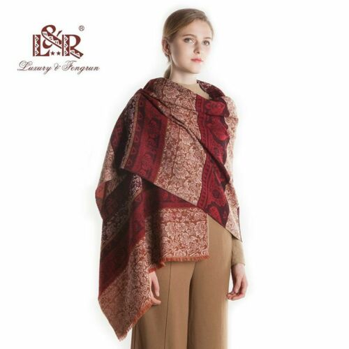 Women Real Wool Winter Scarf Print Flower Print Foulard Shawl Wraps Wool Bandana
