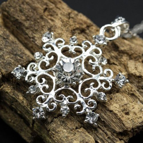 Frauen Schöne Cubic Snowflake Schnee Halskette Kette Collier Gem Strass  Best