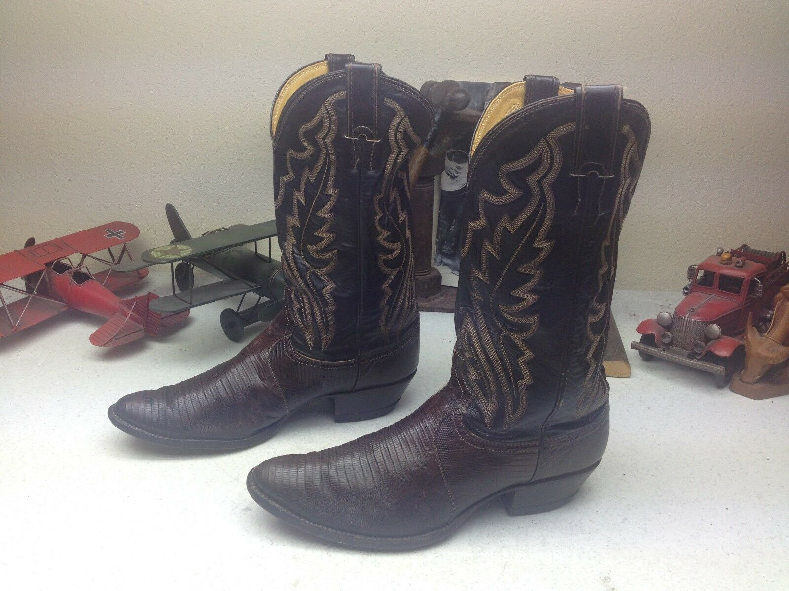 WORN JUSTIN USA BROWN LEATHER LIZARD WESTERN COWBOY ENGINEER BOSS BOOTS 10.5 D