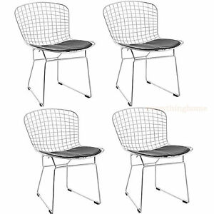 Details About 4X BERTOIA STYLE CHAIR DINING SIDE CAFE STEEL WIRE CHROME  MESH BLACK PAD  331 LB