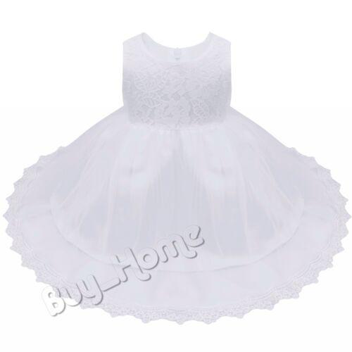 Lace Baby Flower Girls Princess Dress Formal Christening Birthday Wedding Party