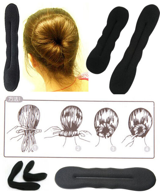 2x HAIR TOOL STYLING ACCESSORIES MAKE MAGIC SPONGE CLIP FOAM BUN CURLER TWIST T3