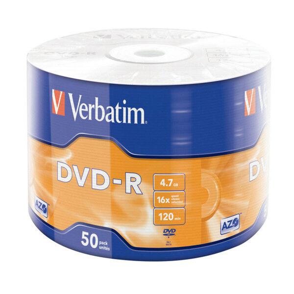 "DVD-R 16x Verbatim ""Matt Silver Azo"" Bobina 50 uds"