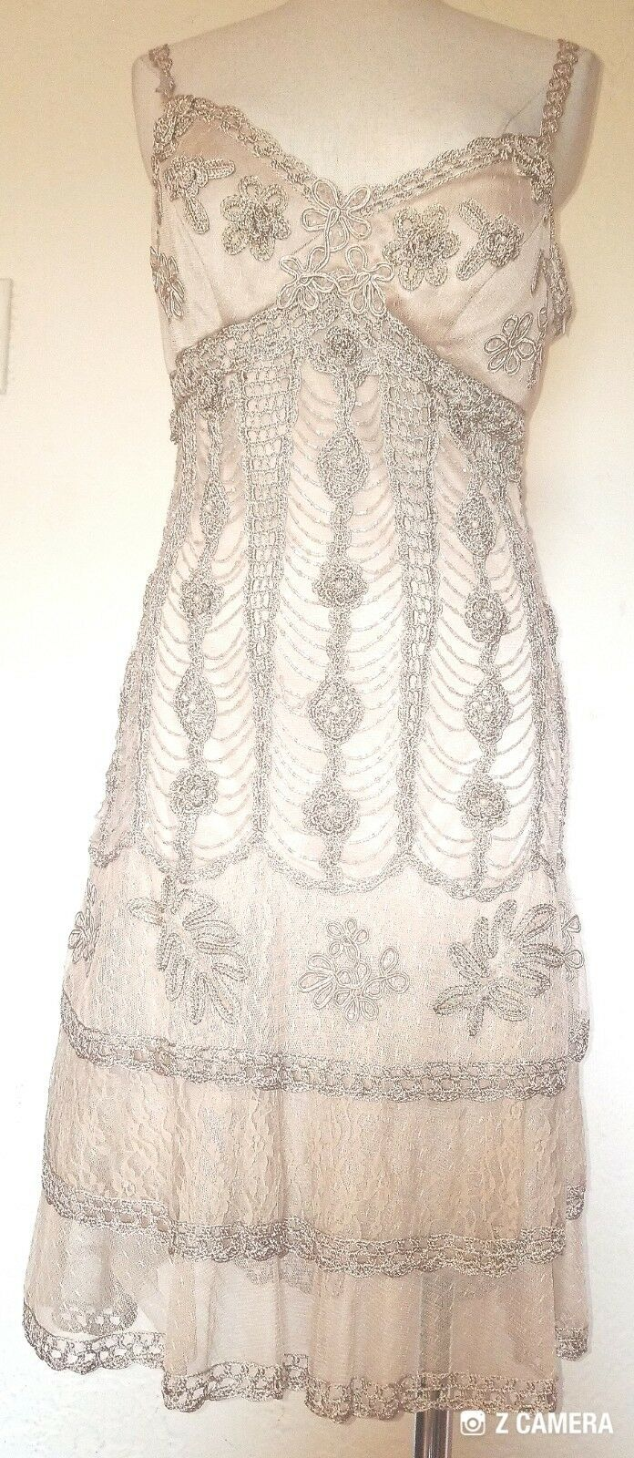 Sue Wong Nocturne Champagne Beaded & Lace Dress Size 8