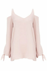 NEW-WOMAN-039-S-EX-CHAIN-STORE-GREY-PINK-SATIN-FEEL-COLD-SHOULDER-TOP-SIZES-8-16