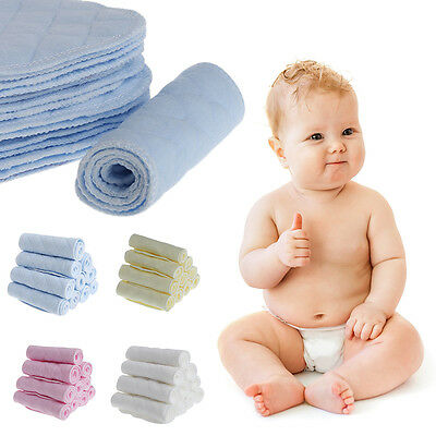 Cotton 10pcs//set Soft Breathable Reusable Pure Cotton Baby Cloth Diaper Nappy Liners Insert 3 Layers white