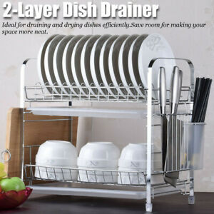 2 Tier Dish Rack Drainer Kitchen Plate Drying Cutlery Holder Tray