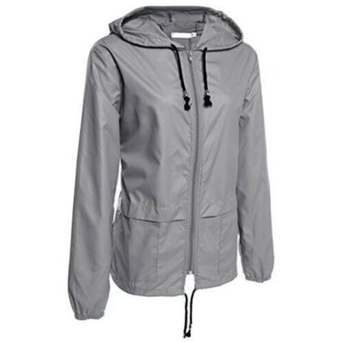 Womens Rain Waterproof Jacket Ladies Hooded Outdoor Zip Hiking Coat Raincoats