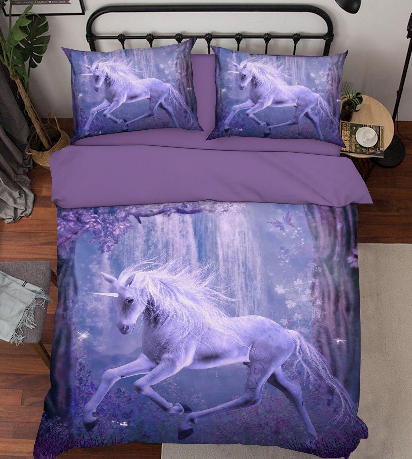 3D Jungle Unicorn 909 Bed Pillowcases Quilt Duvet Cover Set Single Queen King CA