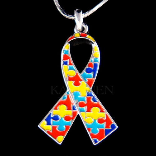 Enamel Child Autism Asperger Puzzle Ribbon Cancer Awareness Necklace Jewelry New