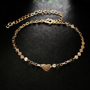 Ankle-Heart-Chain-Gold-Anklet-Beads-Beach-Foot-Jewelry-Barefoot-Bracelet