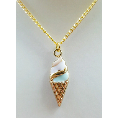 SUNDAE ICE CREAM DESSERTS NECKLACE ROCKABILLY DERBY PIN UP SWING KITSCH RETRO