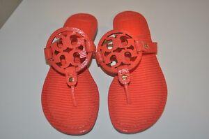 d502edfcdaa35 NEW Tory Burch Miller Sandal Micro Print Poppy Red Thong Flat Shoes ...